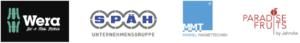 Logos der Firmen Wera, Späh, MMT und Paradise Fruits